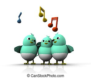3D BIRD SING - THE TRIO BIRDS SING A SONG WITH HAPPILY