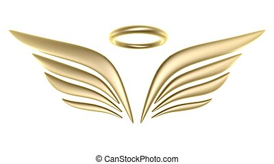 3d bird wing symbol isolated on white background