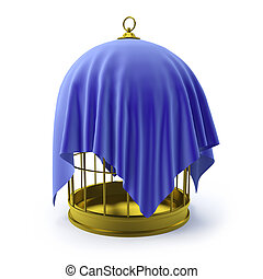 3d Birdcage draped in blue cloth - 3d render of a golden...
