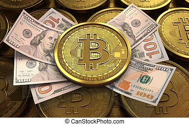 3d bitcoin - 3d illustration of bitcoin over coins stacks ...
