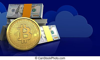 3d bitcoin - 3d illustration of dollars stack over clouds...
