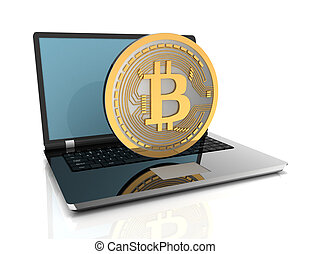 3d bitcoin and laptop. 3d rendered illustration