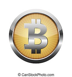 3d Bitcoin button. Vector illustration.