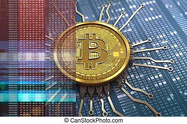 3d bitcoin chip schema - 3d illustration of bitcoin over...