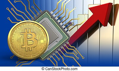 3d bitcoin - 3d illustration of cpu over rising charts...