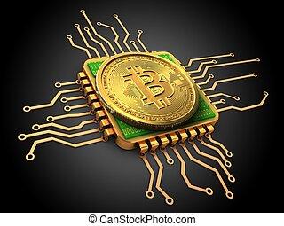 3d, bitcoin, con, unidad central de procesamiento, oro