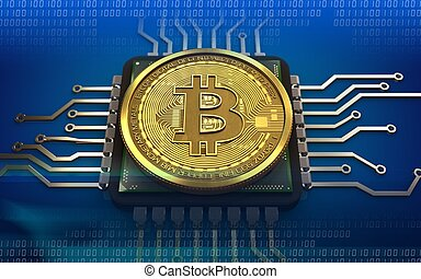 3d bitcoin CPU - 3d illustration of bitcoin over blue ...