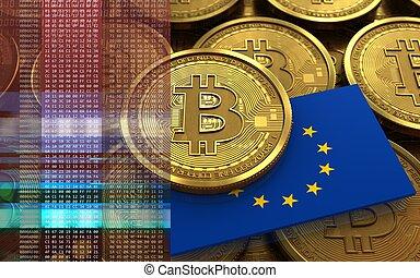 3d bitcoin EU flag - 3d illustration of bitcoin over coins...