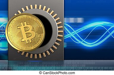 3d bitcoin over digital waves - 3d illustration of metal box...