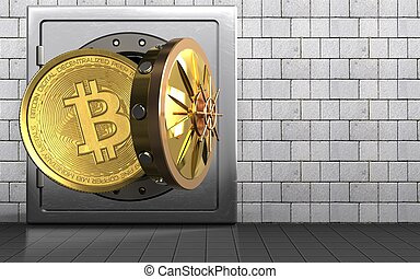 3d bitcoin over white stones - 3d illustration of metal safe...