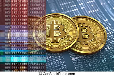 3d, bitcoin, pile