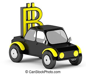 3D Bitcoin sign in a black car