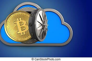 3d, bitcoin, sobre, azul