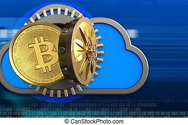 3d, bitcoin, sobre, cyber