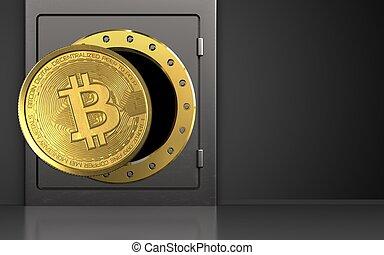 3d, bitcoin, sobre, pretas