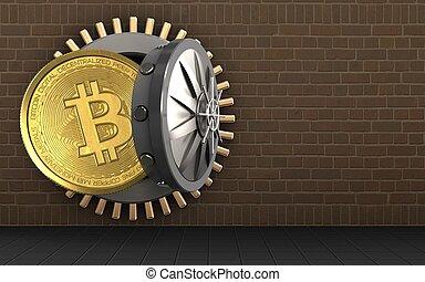 3d, bitcoin, sobre, tijolos