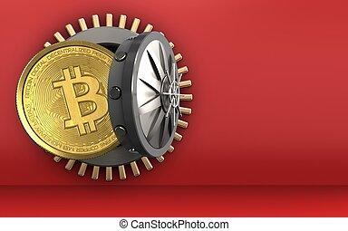 3d, bitcoin, sobre, vermelho