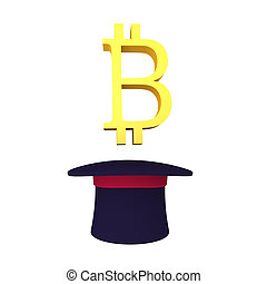 3D Bitcoin symbol emerging out of top hat