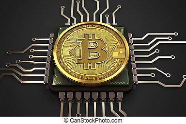 3d, bitcoin, unidad central de procesamiento