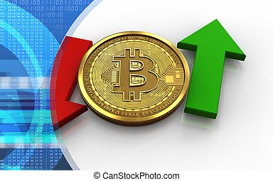 3d bitcoin up and down arrows - 3d illustration of bitcoin...