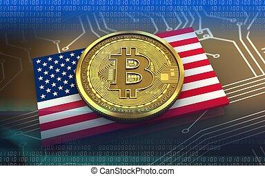3d bitcoin USA flag