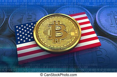 3d bitcoin USA flag - 3d illustration of bitcoin over blue...