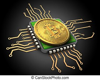 3d bitcoin with cpu - 3d illustration of bitcoin over black...