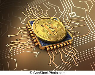 3d bitcoin with cpu gold - 3d illustration of bitcoin over ...