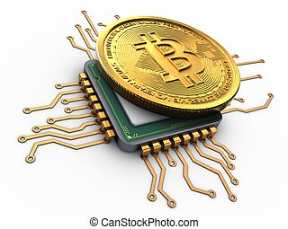 3d bitcoin with cpu - 3d illustration of bitcoin over white...