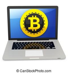 3d bitcoin with laptop computer