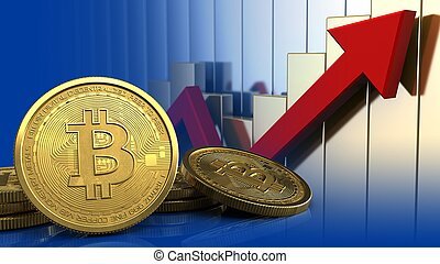 3d bitcoins - 3d illustration of bitcoins over rising charts...
