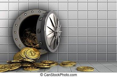 3d bitcoins heap over white wall