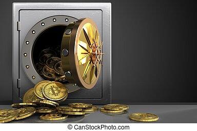 3d, bitcoins, montão, sobre, pretas