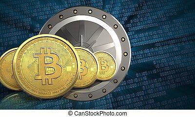 3d bitcoins row