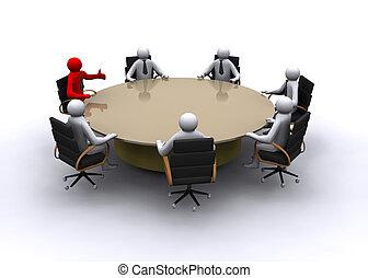 3d, biznesmen, na, spotkanie