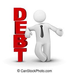 3d, biznesmen, przedstawiając, pojęcie, słowo, dług