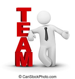 3d, biznesmen, przedstawiając, pojęcie, słowo, drużyna