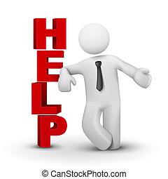 3d, biznesmen, przedstawiając, pojęcie, słowo, pomoc
