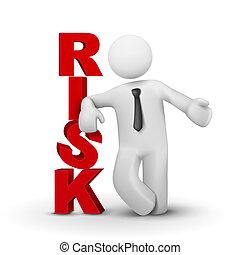 3d, biznesmen, przedstawiając, pojęcie, słowo, ryzyko