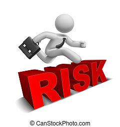 3d, biznesmen, skokowy na drugą, 'risk', słowo