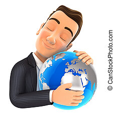 3d, biznesmen, tulenie, ziemia