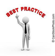 3d, biznesmen, z, najlepszy, praktyka, ilustracja