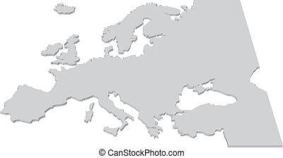 3D Black and White Country Map of Europe