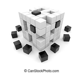 3D black and white cubes