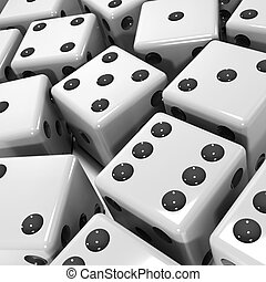 3d Black and white dice