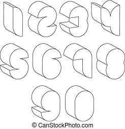 3d black and white futuristic numbers made with lines.