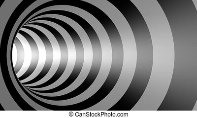 3D black and white psychedelic tunnel