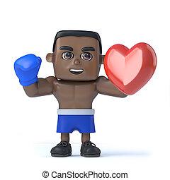 3d Black boxer has a lot of heart