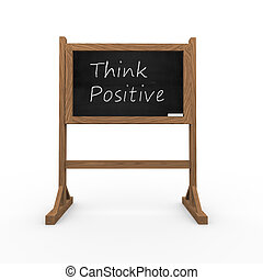 3d black chalkboard think positive