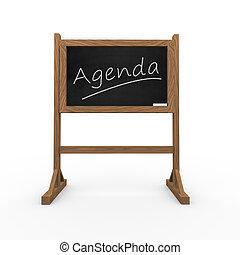 3d black chalkboard word agenda